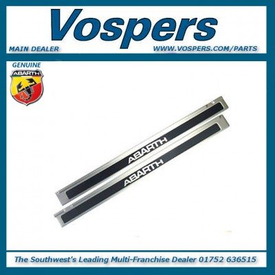Genuine Abarth 500 Door Sill Scuff Kick Plates In Stainless Steel